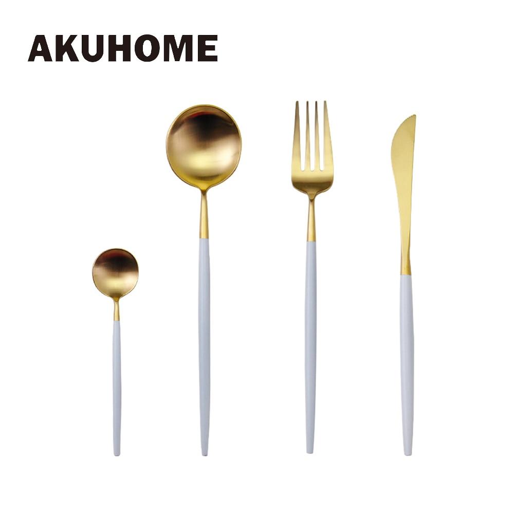 7 Warna Stainless Steel Cutlery Set Mulut Fork Pisau Pencuci Mulut Hidangan Makan Malam Pinggan Emas Perak Hitam Kopi