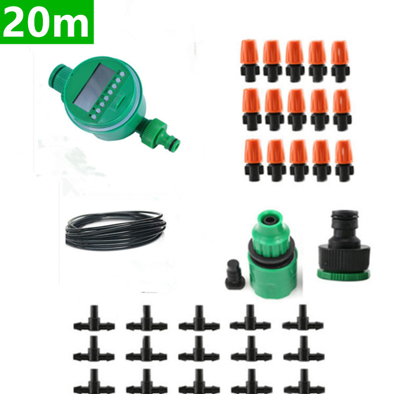20m Automatic Micro Drip Irrigation System Garden Irrigation Spray Self Watering Kits with Adjustable Dripper Watering