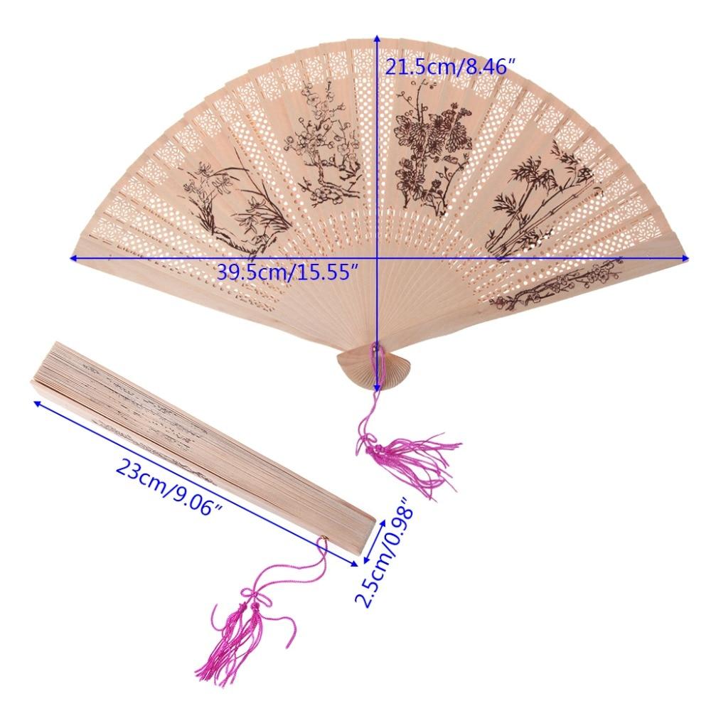 Chinese Folding Fragrant Sandalwood Hand Fan Bamboo Wedding Party Gift