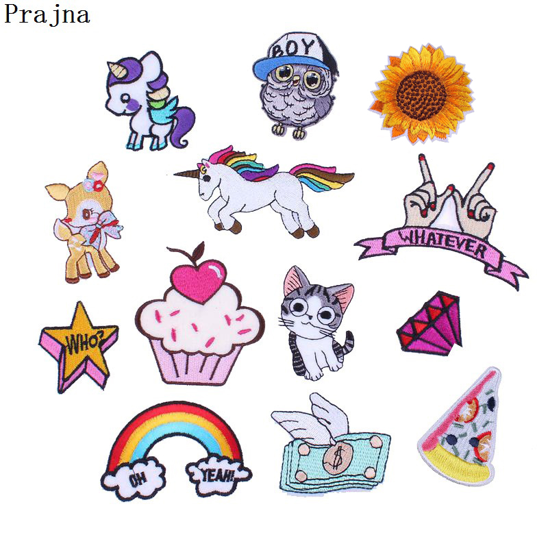 US $0 31 30% OFF|Prajna Heart Unicorn Pizza Rainbow Patch Kids Sew On Iron  On Cartoon Patches Cute Embroidered Patches For Clothes DIY Applique-in
