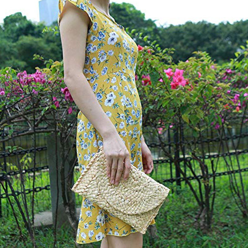 Women Straw Handbag Summer Beach Purse Woven Straw Envelope Bags New(China)