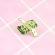 Крылья ангела с долларовой банкнотой, индивидуальная модная эмалированная брошь, белый воротник, для сотрудников, одежда, булавка, ювелирное изделие, подарок
