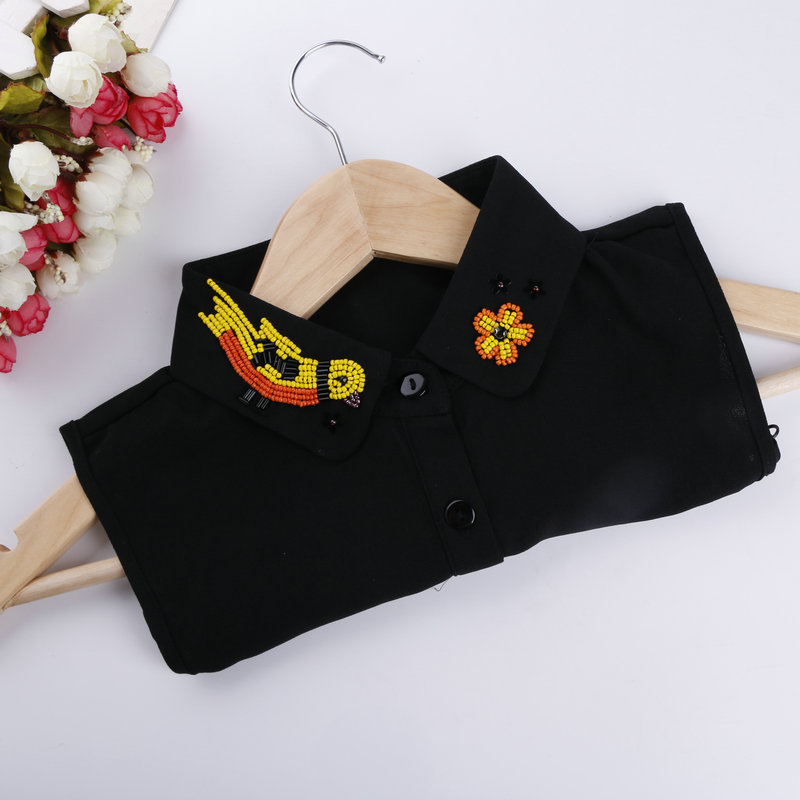 Women Crystal Sweater Shirt Fake Collar New Vintage Rhinestone Bead Flower Bird Detachable Collar False Collar Lapel Blouse Tops