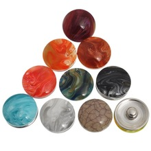 30Pcs Mixed Colors Round Resin Marble Imitate Pattern Click Snap Press Buttons Crafts Making 18mm