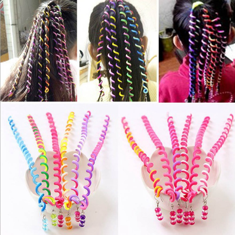 6pcs/Lot Soft Pottery Children's Headband Rainbow Color Cute Girls Hair Band Long Elastic Hair Bands Headwear Hair Accessories