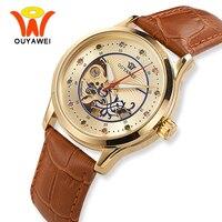 Nuevo Reloj de pulsera automático de esqueleto de oro de lujo para mujer, relojes de pulsera mecánicos de moda, reloj de cuero transparente, montre para mujer