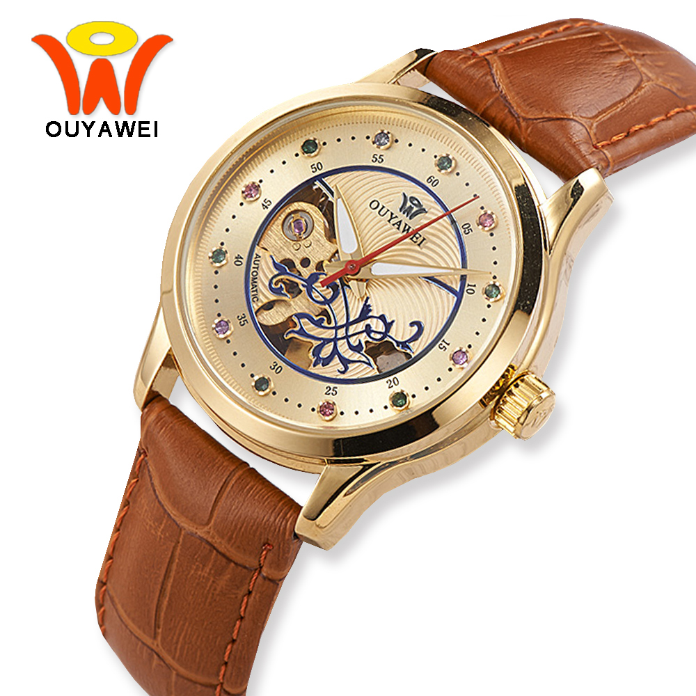 OUYAWEI 2017 New Luxury Gold Case Automatic Mechanical Skeleton Watch Women Brown Leather Wrist Watches For