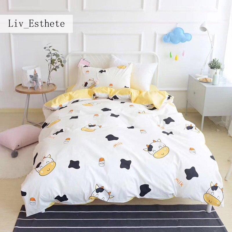 Liv_Esthete Cute Black Cow Children Cartoon Bedding Set Kids Embroidery Duvet Cover Set 100% Cotton Bed Set With Flat sheet 3pcs