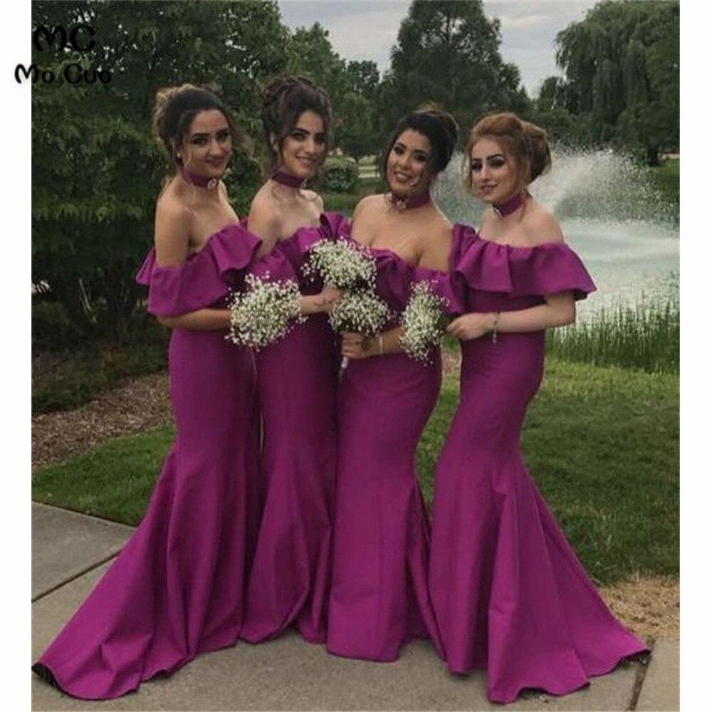 2019 Fuchsia In Stock Wedding Party   Dress   Mermaid Ruffles wedding Guest   dress   Elastic Satin Off Shoulder   Bridesmaid     Dresses