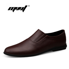 Genuine Leather Men Flats Handmade Plus Size Soft Loafers Moccasins  Business Casual Shoes Dropshipping
