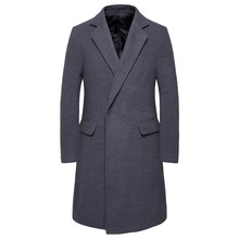 Winter Wool Coat Mens High Quality Casual Slim Lapel Long Cotton Collar Trench