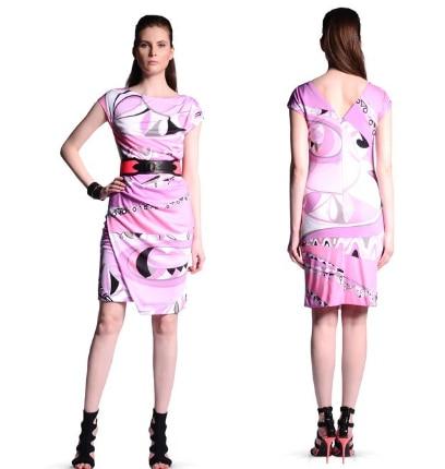 Col Rose De Stretch Slim Jersey Rond Femmes Mode Impression Dress Italien Gilet Soie 2017 CSxnwq66p