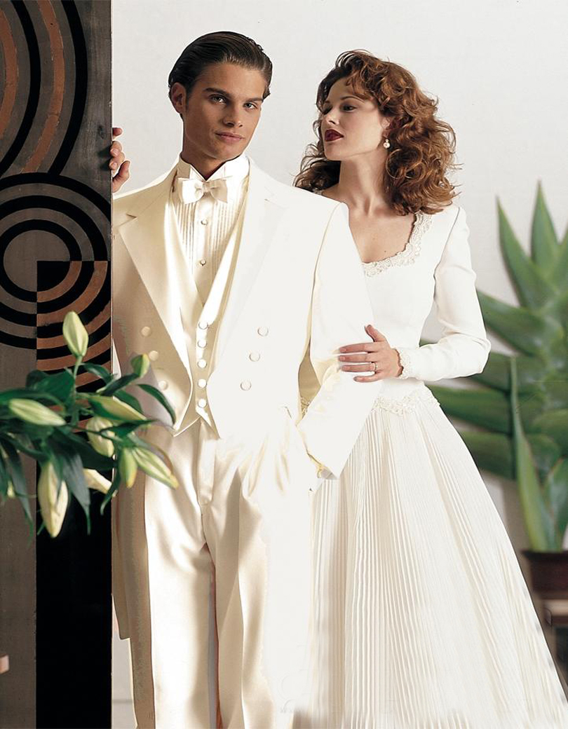 White dresses collection - Ivory wedding dress with white groom shirts