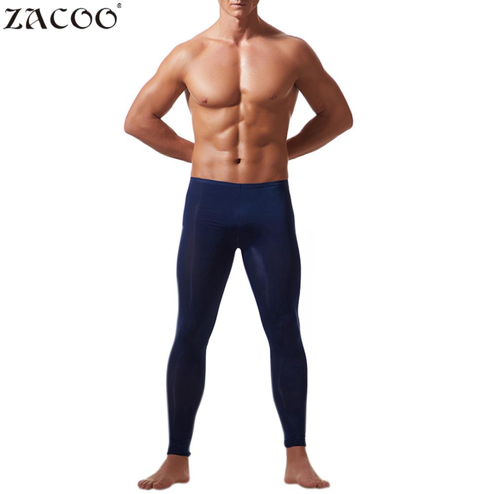 2018 Autumn New Men Thin Sleep Bottoms Soft Underwear Pants Stretch  Thin Lifting Tights Underwears Pants Autumn Ice Silk Si0