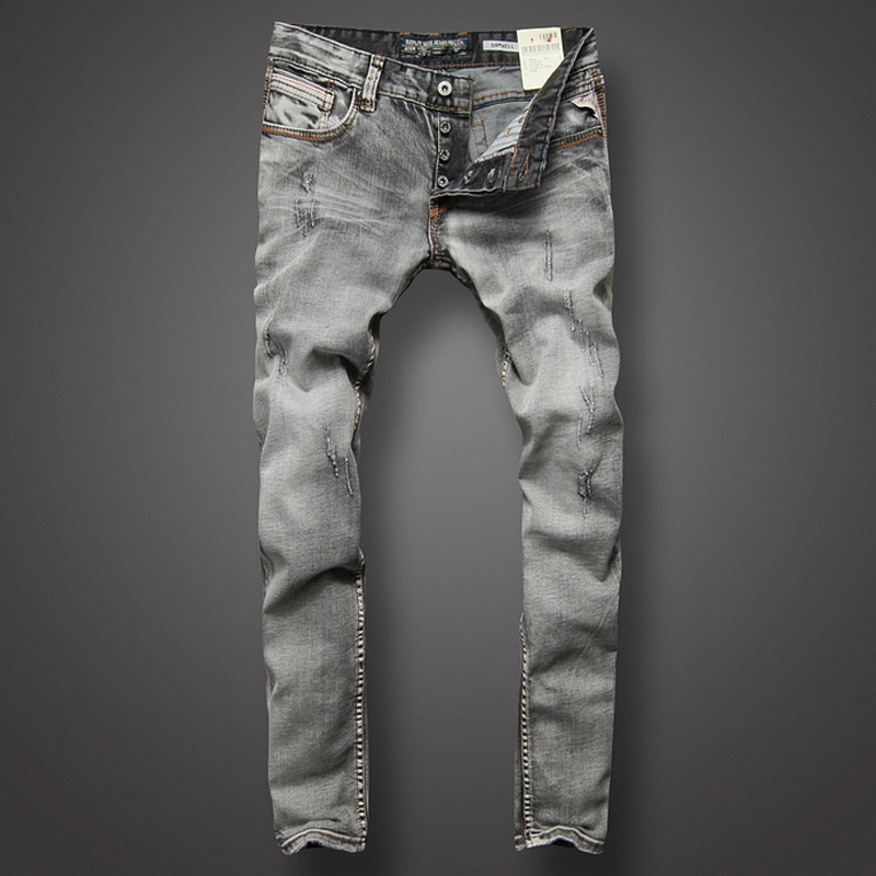 Italian Style Fashion Men Jeans Retro Design Vintage Stripe Ripped Jeans For Men Slim Fit Gray Color High Quality Biker Jeans italian style fashion men jeans light blue color denim stripe ripped jeans men dsel brand street slim fit biker jeans trousers