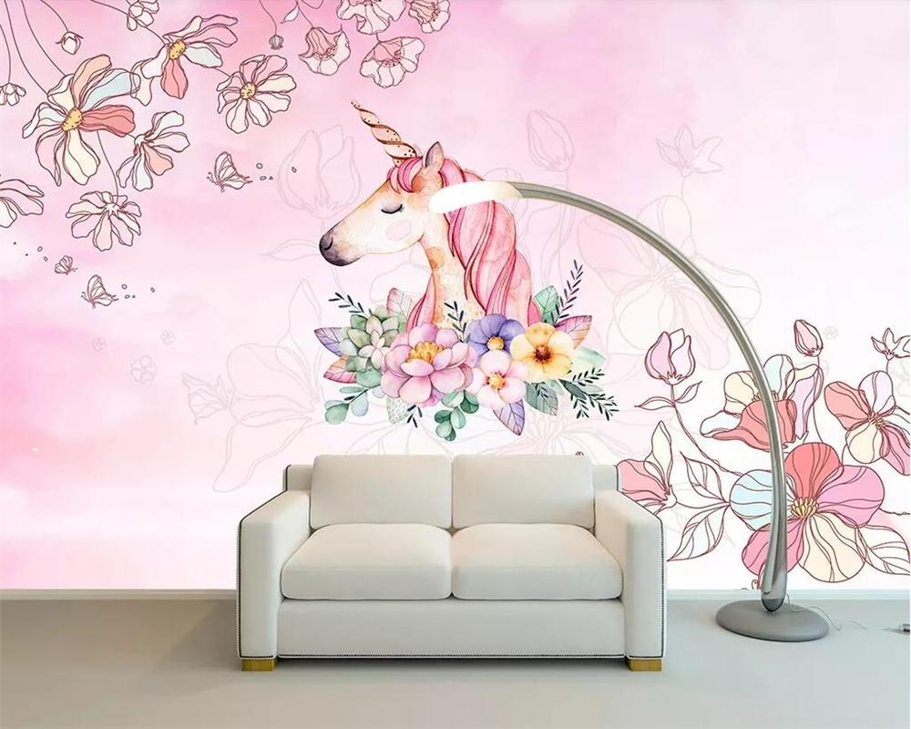 unicorn background living dream wall custom decoration beibehang bedroom children 3d wallpapers