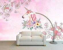 Купить с кэшбэком Beibehang Custom wallpaper girl dream unicorn children's room background wall living room bedroom home decoration 3d wallpaper