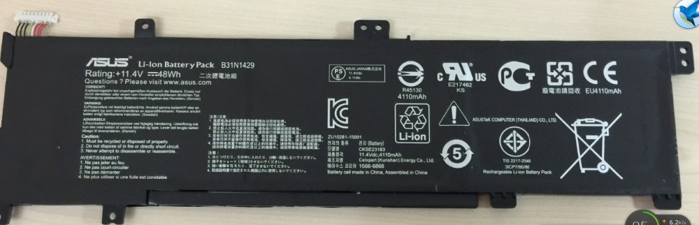 Free shipping 11.4V 48Wh Genuine Original Battery For Asus A501LB5200 A501L B31N1429 Series