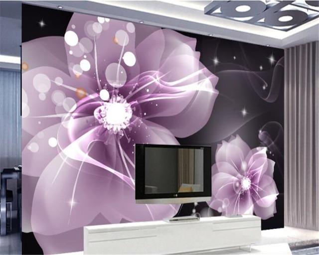 Beibehang Papel De Parede Modernen Maler Dekoration Tapete Einfachen Lila  Transparent Blume TV Schlafzimmer Hintergrund Wände