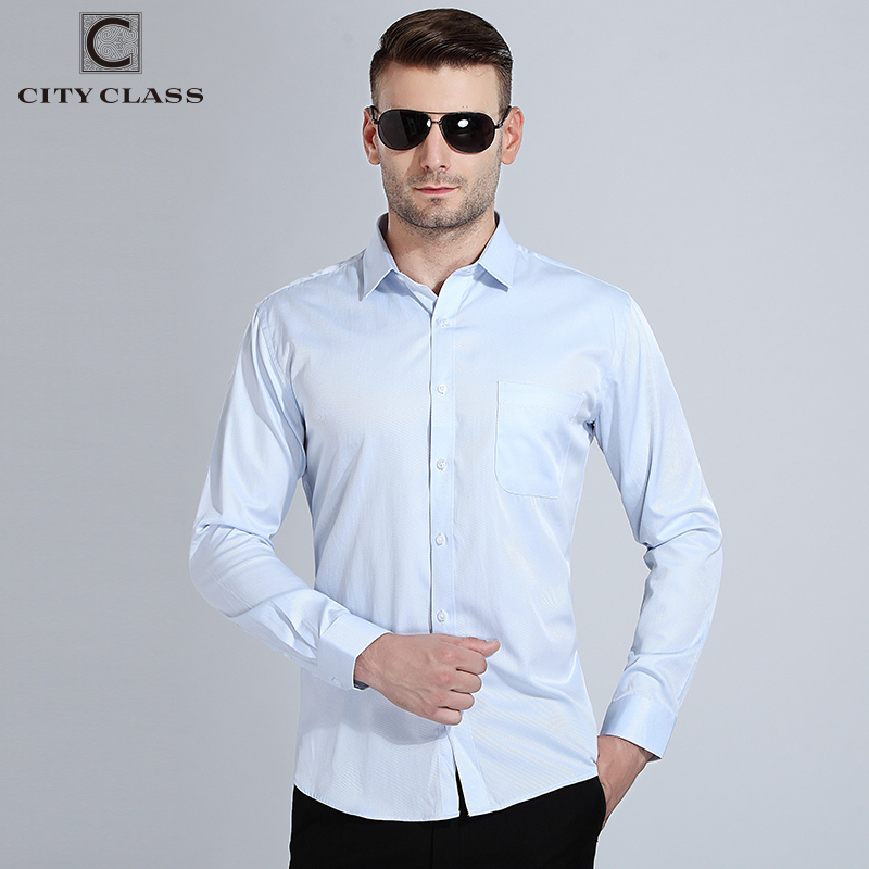 City Class 2018 Mens Dress Shirts Big Sizes Long Sleeve Camisa Social Man Shirts High Quality Comfortable Wash Wear Shirt 1007