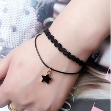 Creative Lace Bracelet Simple Flowers Double layer Clover Cherry smile Drops star Bracelets & Bangles For Woman Charms Jewelry(China)
