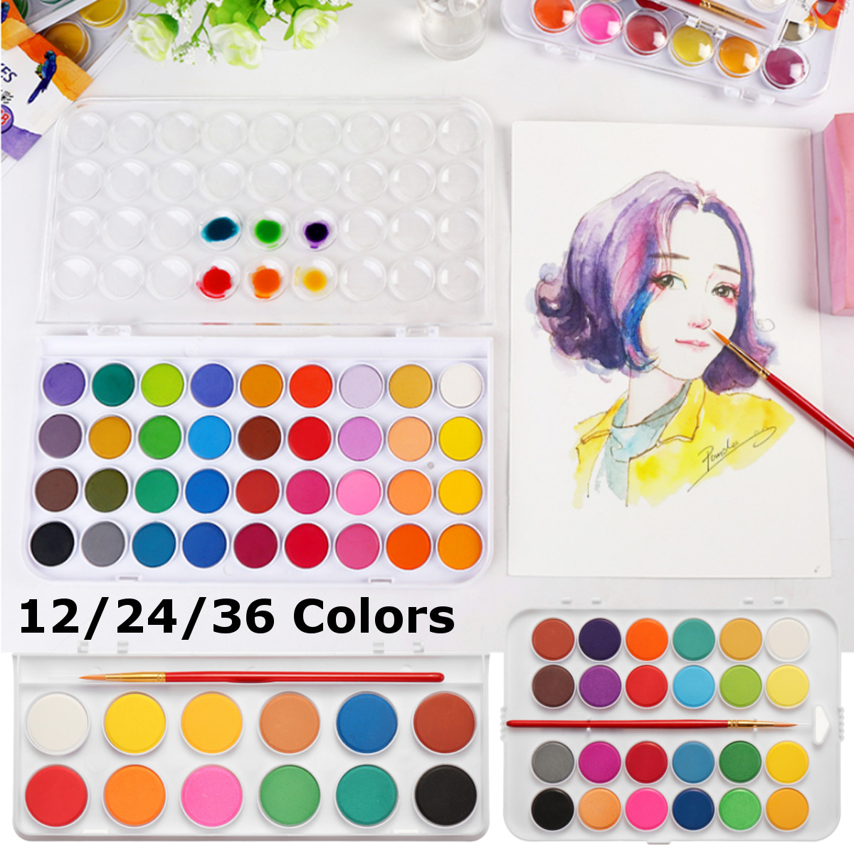 12/24/36 Colors Portable Travel Solid Pigment Watercolor Paints Set With Water Color Brush Pen For Painting Art Supplies12/24/36 Colors Portable Travel Solid Pigment Watercolor Paints Set With Water Color Brush Pen For Painting Art Supplies