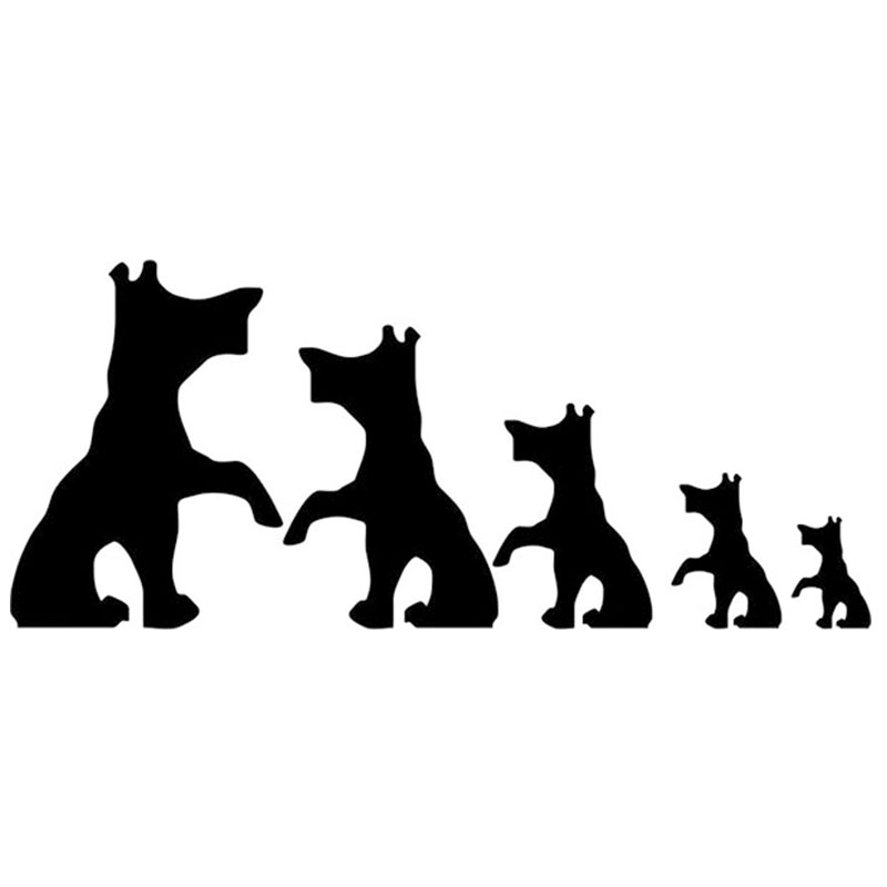 Free Shipping Set Of 5 Dog Family Car Sticker For Truck Window Bumper Auto SUV Door Kayak Vinyl Decal 8 Colors