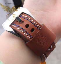22mm 24mm Men New High Quality Brown Genuine Leather Watch Band Strap