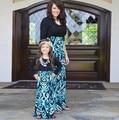 Madre E Hija Vestido A Juego de Ropa de la Familia Ropa de manga larga Negro Patchwork Vestidos de Madre E Hija 2016 Trajes de Verano