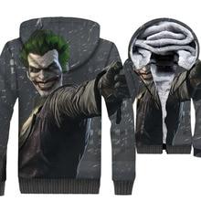 цена 3D Hoodies Anime Batman The Killing Joke Joker Men Jacket 2019 Autumn Winter Thick Men's Coat Harajuku Warm Hip Hop Sportswear онлайн в 2017 году