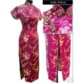 Burgundy Chinese Female Satin Cheongsam Qipao Elegant Long Evening Gown Dress Floral Size S M L XL XXL XXXL 4XL 5XL 6XL S035-E