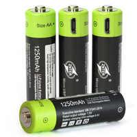 High Grade USB Aufladbare Lithium-Polymer Batterie Bateria AA 1,5 V 1250mAh ZNT5 Universal Batteies Aufgeladen Durch Micro USB kabel