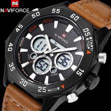 2016 NAVIFORCE Новые часы мужчины Спорт коричневый кожаный ремешок мода Наручные Часы Dual time Цифровой Аналоговый Кварц черный Часы