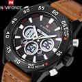 2017 NAVIFORCE Новые часы мужчины Спорт коричневый кожаный ремешок мода Наручные Часы Dual time Цифровой Аналоговый Кварц черный Часы