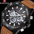 2017 naviforce novos relógios homens esportes pulseira de couro marrom moda relógio de pulso dual time digital analógico quartz preto