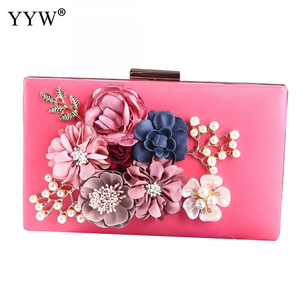 Pink Flower Clutches Bag For Women Luxury Handbags Women Bags Designer Clutch Bride Wedding Bags With Rhinestone Pearl Shoulder