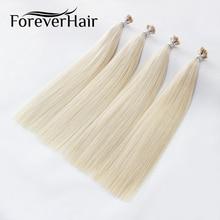 """FOREVER HAIR 0,8 г/локон 1"""" 18"""" 2"""" Remy двойные нарисованные человеческие волосы для наращивания платиновый блонд#60 кератиновые бонды для наращивания волос 80 г"""