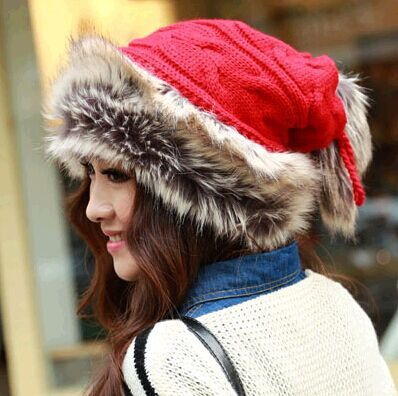 2015 Winter Beanies The fur Hat Scarf dual section Thickening warm Knitted hats Ear protection wool Cap