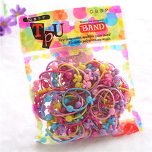 Bulk Deal 50pcs/pack Rubber Hairband for Children's Bottom Cartoon Double Bead Tie Diameter bands For Hair hair Good Band(China)