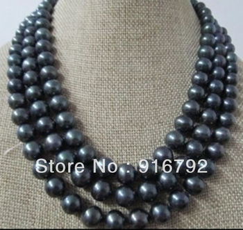 free shipping >>>>>48''TAHITIAN AA + 9-10 mm GENUINE BLACK PEARL NECKLACE
