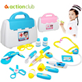 Plastic Doctor Toys Pretend Play Tool Box 15pcs Kids Simulation Medical Kit Physician Cosplay Set for Children Boys Girls Toys