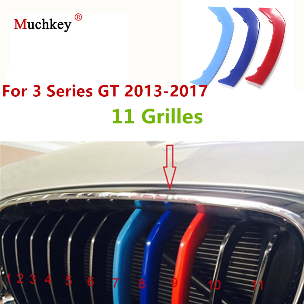 3D M Sport Front Grille Trim Strips Grill Cover Sticker for BMW 2013 to 2017 3 Series GT F34 320i 328i 330i 335i 340i 11 Grilles