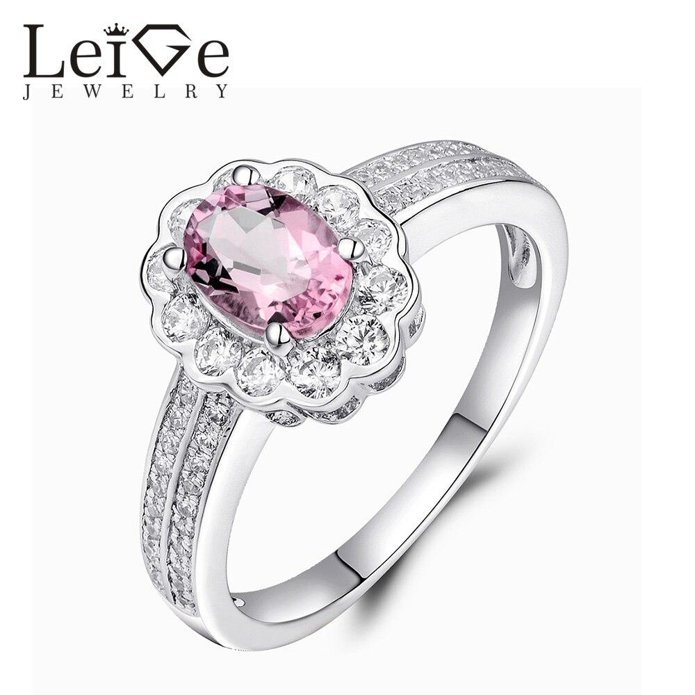 Лейдж Jewelry натуральный розовый турмалин Кольцо Романтический драгоценный камень овальной огранки стерлингового серебра настроены Обручал