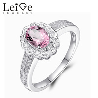 Leige Jewelry Natural Pink Tourmaline Ring Romantic Gemstone Oval Cut Sterling Silver Customized Engagement Rings Fine Jewelry
