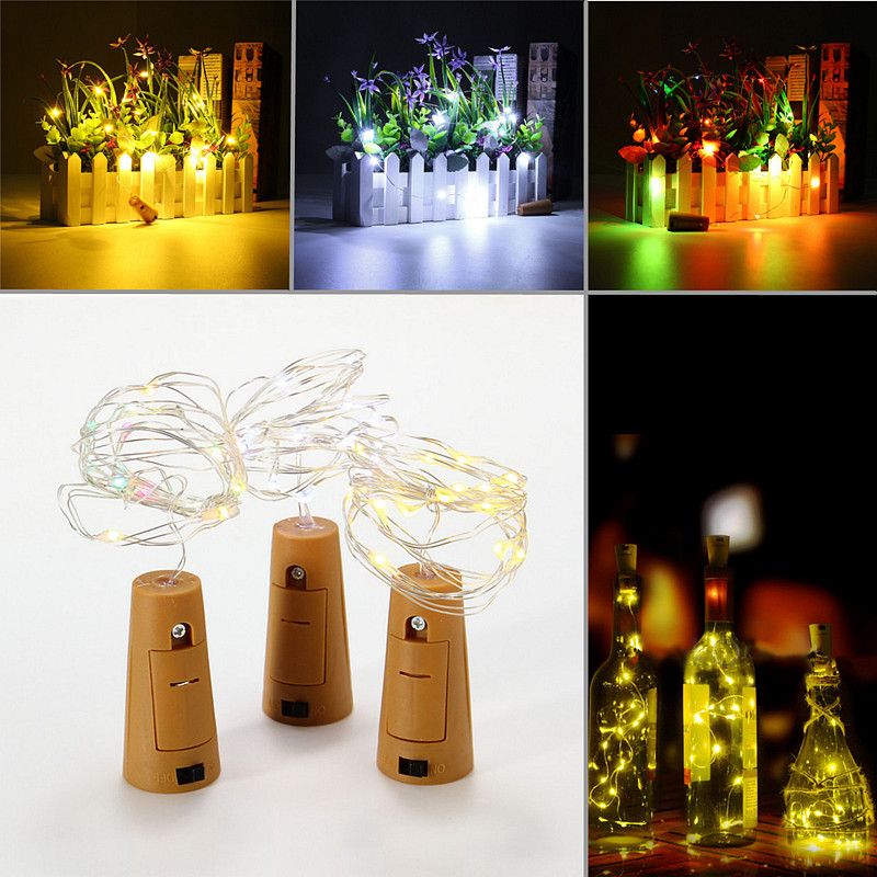 Jiguoor Battery Powered 1M 20LEDs Cork Shaped Silver LED Starry Light Wine Bottle Lamp For Party