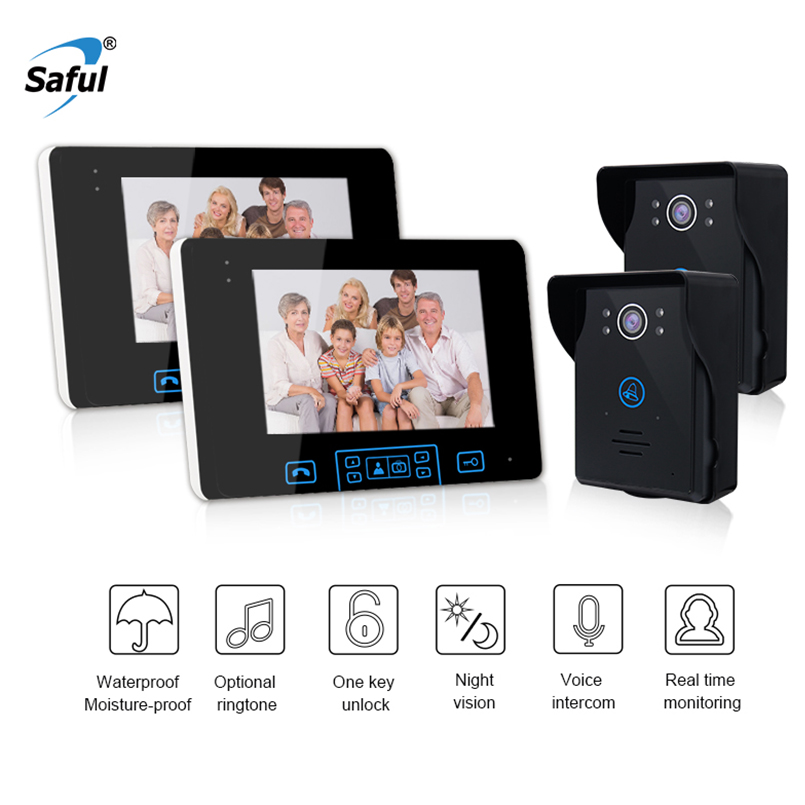 Saful 7 TFT Wireless Video Door dell Intercom System 2.4GHz Digital video door phone camera with 2 Monitor Doorbell Camera