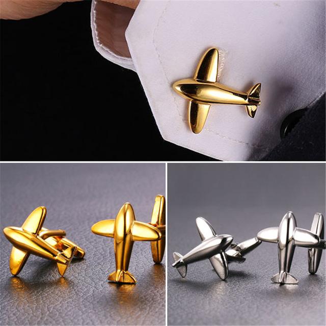 Golden Silver Airplane Aircraft Cufflink