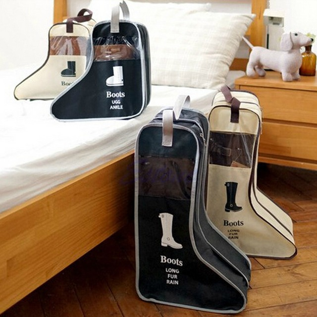 PP Long Riding Rain Ankle Boots Leather Shoes Storage Bag Organizer Case  Travel New