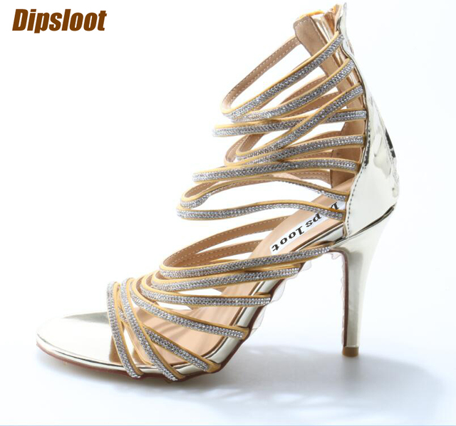 1e90ce5a3afef Luxury Crystal Straps Women Sexy Gold Sandals Open Toe Ladies BlingBling  High Heels Female Fashion Dress Shoes Party Shoe Size42