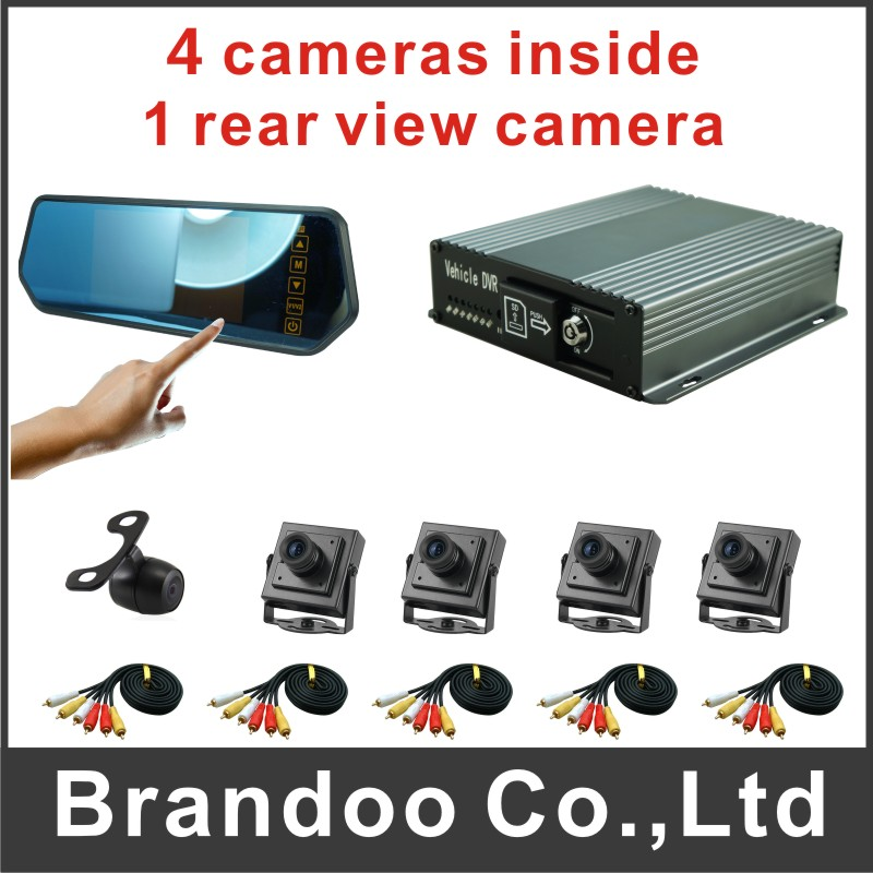 5 cameras CAR DVR kit, 4 camera inside recording with a rear view camera, 5inch touch screen monitor